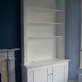 built in alcove cabinet with bookcase