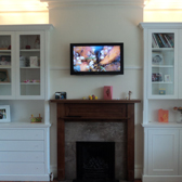 classic alcove units with drawer fronts, uplighters and glass doors